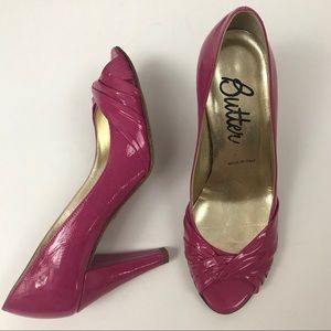 Butter Hot Pink Peep Toe Heel